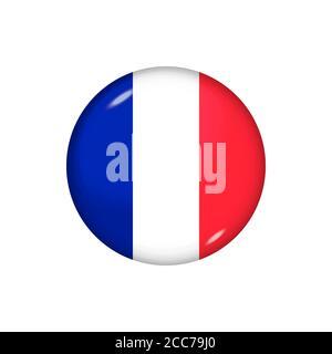 Icon flag of France . Round glossy flag. Vector illustration. EPS 10 - Stock Photo