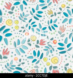 Scattered stylized flowers and and leaves with polka dots in soft greenish-blue, orange and yellow shades on grey background for decor items and web. - Stock Photo
