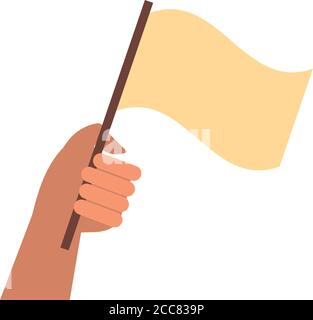 hand human with flag protest flat style icon vector illustration design - Stock Photo
