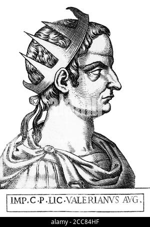 Italy: Valerian (193/195/200-260/264), 40th Roman emperor, from the book Romanorvm imperatorvm effigies: elogijs ex diuersis scriptoribus per Thomam Treteru S. Mariae Transtyberim canonicum collectis, c. 1583. Valerian was from a traditional senatorial family, and served under various emperors. When Emperor Trebonianus Gallus faced rebellion from rival claimant Aemilianus in 253, he turned to Valerian for aid. Valerian was too late to save Gallus, who was murdered by his own troops, but his arrival saw Aemilianus' legions kill their own emperor and defect to Valerian's side, declaring him the