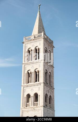 Belfry of the church of St. Donatus located in Zadar, Croatia - Stock Photo