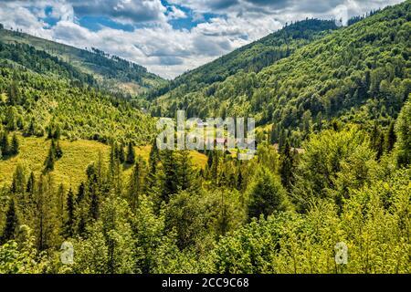 Rakovec section of village of Mlynky, Hnilec river valley, Slovak Ore Mountains, Slovak Paradise National Park, Kosice Region, Slovakia