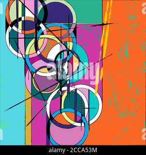 abstract circle background, with paint strokes and splashes, retro/vintage style - Stock Photo