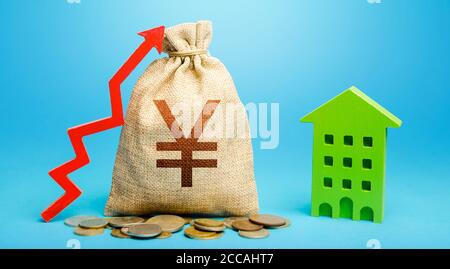 Yen Yuan money bag with red up arrow and residential building. Return on investment. Municipal budget. Recovery and growth in property cost. Increase