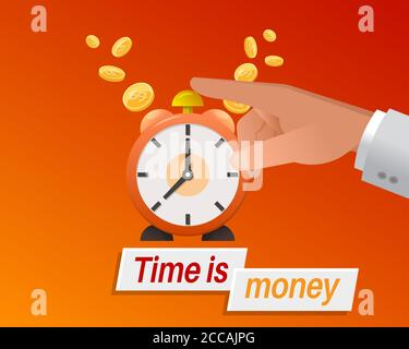 Time is money. Wake up and make money. Business concept. Colorful banner. Vector illustration in a flat style. - Stock Photo