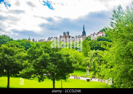 Edinburgh, Scotland 7th August 2020 View of Edinburgh Castle and Princes Street Gardens - Stock Photo
