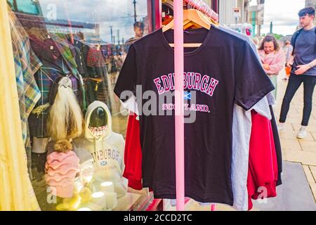 Edinburgh, Scotland 7th August 2020 souvenir edinburgh t shirt for sale outside gift shop - Stock Photo