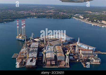 aerial photo, harbour, Pula, Istria, Croatia - Stock Photo