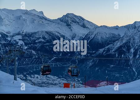 Europe, Switzerland, Valais, Belalp, view from Belalp to Punta di Terrarossa, Hübschhorn and the Simplon Pass - Stock Photo
