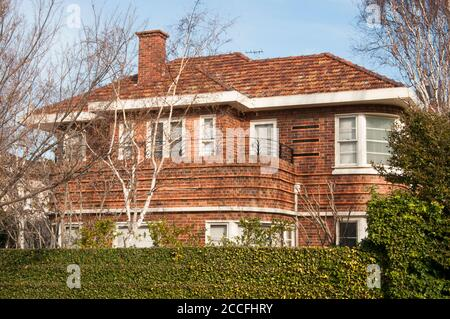 Ocean Liner or Streamline Moderne 1930s family home in  Brighton, Melbourne - Stock Photo