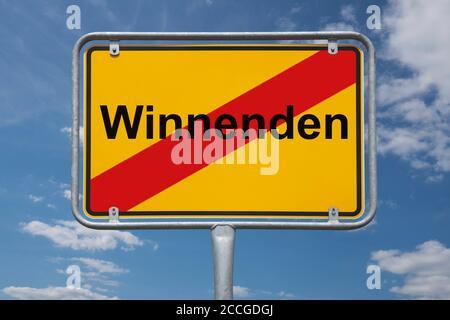 Ortstafel Winnenden, Baden-Württemberg, Deutschland | Place name sign Winnenden, Baden-Württemberg, Germany, Europe