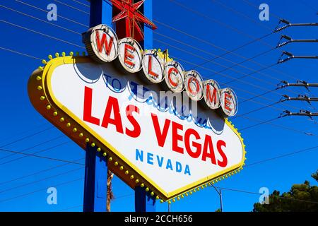 The Welcome to Fabulous Las Vegas sign on bright sunny day in Las Vegas.Welcome to Never Sleep city Las Vegas, Nevada Sign with the heart of Las Vegas Stock Photo