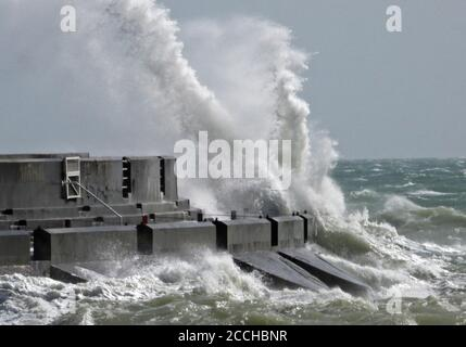 Brighton's Marina Sussex 22nd August 2020 Big  waves crashing against the Marina's walls during winds gusting at 50 MPH. Credit: Leo Mason sports/Alamy Live News - Stock Photo