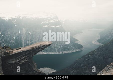 Trolltunga (Troll tongue) The Famous place in Norway, View On  Trolltunga And  Mountain Landscape, Odda, Norway Stock Photo