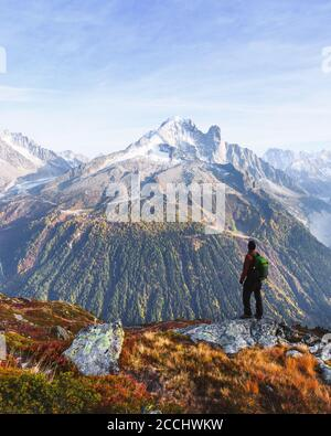 Amazing view on Monte Bianco mountains range with tourist on a foreground. Chamonix, France Alps. Landscape photography - Stock Photo