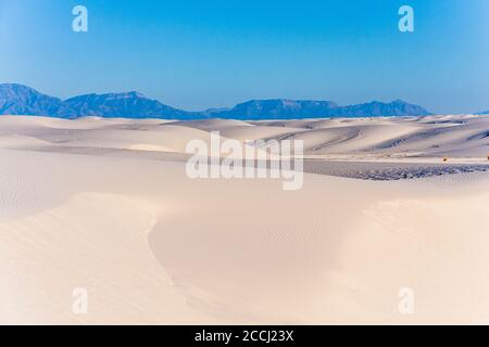 Sand dunes at White Sands National Park in New Mexico on a cold morning in February. Northern end of the Chihuahuan Desert. Stock Photo