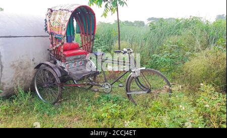 The cycle rickshaw is a small  transport.  Cycle rickshaws are human-powered by pedaling