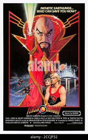 Flash Gordon (1980) directed by Mike Hodges and starring Sam J. Jones, Melody Anderson, Max von Sydow and Brian Blessed. Can Flash and friends defeat the evil Ming the Merciless who is attacking Earth remotely from Mongo? - Stock Photo