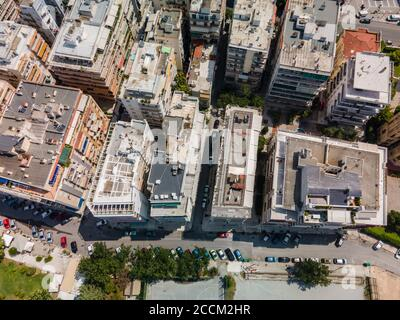 Thessaloniki, Greece aerial drone landscape view of Analipsi borough buildings rooftops. Day top panorama of European city with residential flats.