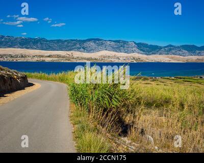 Beautiful view atop Sv. duh on island Pag in Croatia Europe - Stock Photo