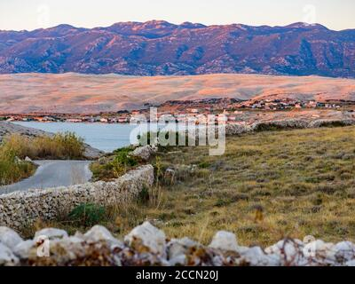 Late afternoon beautiful view atop Sv. duh on island Pag in Croatia Europe - Stock Photo