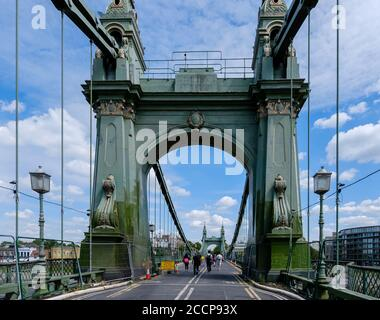 London, England - July 22, 2020: Hammersmith Bridge is now closed to motor vehicles since 2019 due to structural issues, First opened in 1887 - Stock Photo