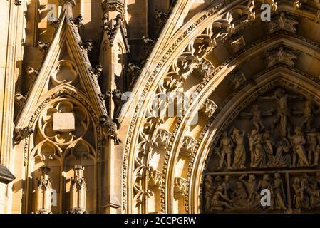 Stone carvings, part of the West entrance door, St Vitus Cathedral,  Prazsky Hrad (Prague Castle), Hradcany,  Prague. Czech Republic - Stock Photo
