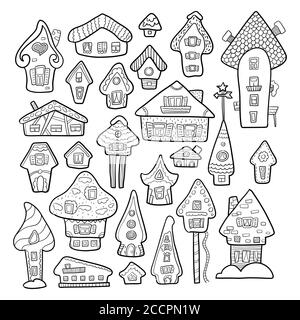 Doodle house vector illustration. Winter seasonal coloring page. Kids nursery poster. Advent calendar template. Christmas or New Year greeting card in - Stock Photo