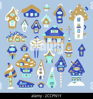 Doodle house vector illustration. Golden blue winter seasonal print. Kids nursery poster. Advent calendar template. Christmas or New Year greeting car - Stock Photo