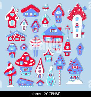 Doodle house vector illustration. Red blue winter seasonal print. Kids nursery poster. Advent calendar template. Christmas or New Year greeting card i - Stock Photo