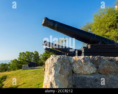Cannon before near Nehaj tower in Senj in Croatia Europe low view - Stock Photo