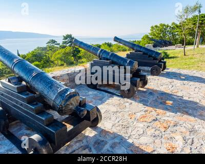 Cannon before near Nehaj tower in Senj in Croatia Europe close view - Stock Photo