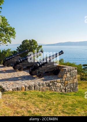 Cannon before near Nehaj tower in Senj in Croatia Europe - Stock Photo