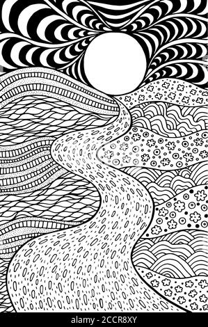 Sea sunset - ink hand drawn sketch. Artistic illustration ...