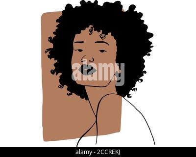 Hand draw outline portrait of african ebony woman with light bown sample color. Abstract colletion of different people and skin tones. Diversity conce