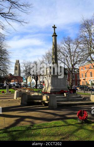 The War Memorial gardens, Boston town; Lincolnshire; England; UK