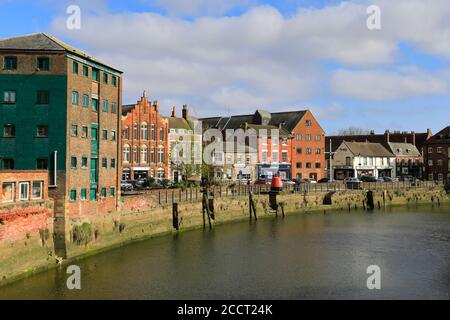 View over the Custom House Quay, river Witham, Boston town; Lincolnshire; England; UK