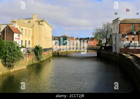 View of the Assembly Rooms and town bridge, river Witham, Boston town; Lincolnshire; England; UK