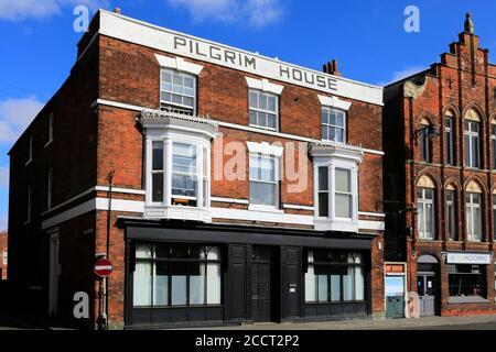The Pilgrim House, Custom House Quay, river Witham, Boston town; Lincolnshire; England; UK