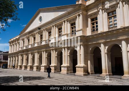 The Palacio del Gobierno or Government Palace is the city hall of San Cristobal de las Casas, Mexico.  It was built in the 1800's in Neoclassical styl - Stock Photo