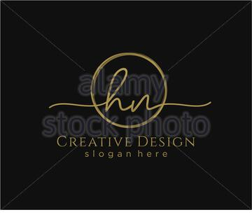 Initial HN handwriting logo with circle template vector - Stock Photo