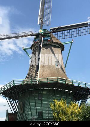 Historical De Bleeke Dood, windmills in the Zaandijk ,Zaanse Schans , northern Holland. - Stock Photo