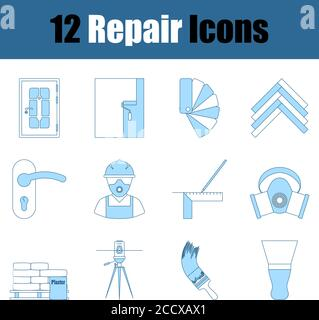Repair Icon Set. Thin Line With Blue Fill Design. Vector Illustration.