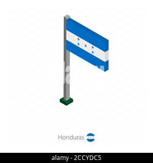Honduras Flag on Flagpole in Isometric dimension. Isometric blue background. Vector illustration. - Stock Photo