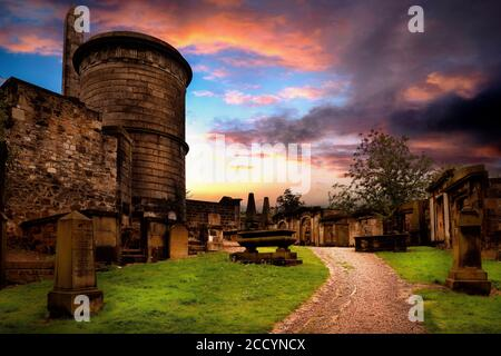 Old Calton Burial Ground, Calton Hill, Edinburgh, Lothian, Scotland, United Kingdom. - Stock Photo