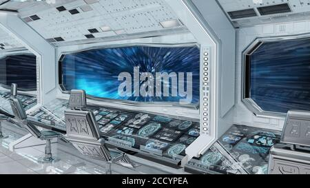 White clean spaceship interior jumping to light speed 3D rendering elements of this image furnished by NASA - Stock Photo