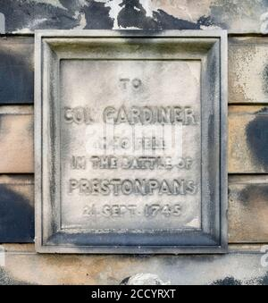 Detail of memorial to Colonel James Gardiner who died at the Battle of Prestonpans, East Lothian, Scotland, UK. - Stock Photo