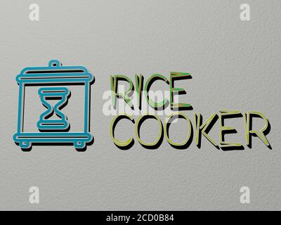 3D representation of burner with icon on the wall and text ...