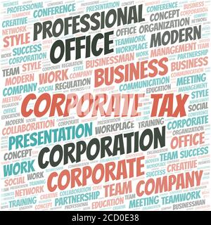 Corporate Tax vector word cloud, made with the text only. - Stock Photo