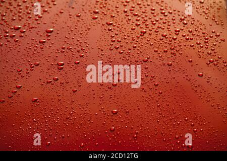 Montreal,Quebec,Canada,August 25, 2020.Close-up of raindrops on car.Credit:Mario Beauregard/Alamy News Stock Photo